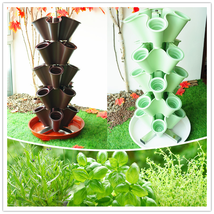 Stacked Garden Planters,Vertical flower pot for Hydroponics and Aquaponics and Home Gardening Decoration