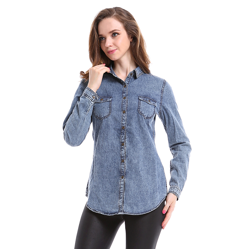 Women Casual Denim Shirts Long Sleeve Vintage Blouse Tops Boyfriend Jeans Shirt Fashion 2015 Autumn Pockets Blusa Feminina