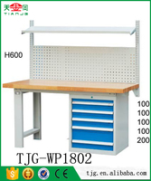 TJG steel solid work bench used factory work tables with wooden up