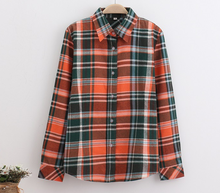 Lime green orange plaid flannel shirt casual long sleeve checked shirts boy girls checked shirt