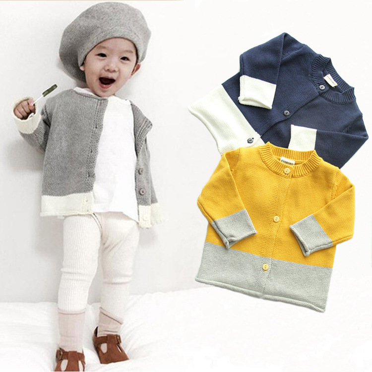 B22270A Baby wool cotton double color spell color cardigan