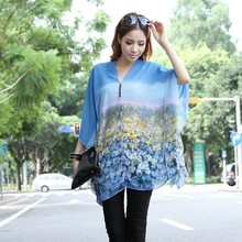 Latest Fashion Chiffon Printed Casual Design Muslim Lady Blouses For Fat Women