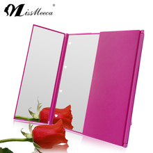 Practical three sides foldable makeup LED light mirror with stand
