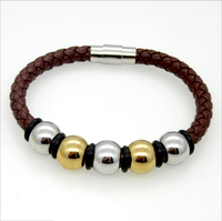 Fashion leather bracelet energy bracelet stainless steel beads bracelet for unisex for men Moonso AS5023