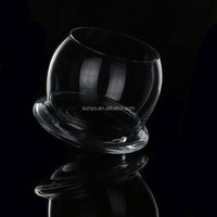 Sodalime handblown UFO shaped round whisky shot glass factory supplier customized size