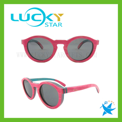 Round pink skateboard wood sunglasses custom logo wood sunglasses skateboard