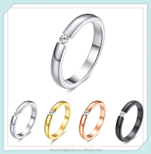 Zircon prong setting black/gold/rose gold/silver stainless steel single stone finger ring