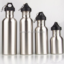 Metal stainless steel water bottle in 350ml/500ml/750ml with plastic lid and hook carabiner
