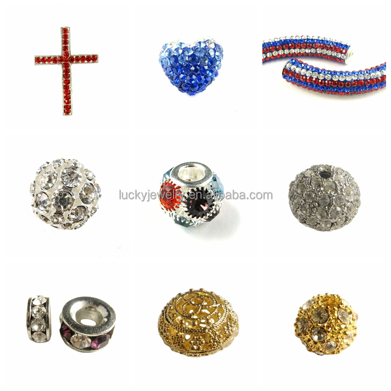 wholesale jewelry accfessories zircon paved silver plated brass loose scattered beads for jewelry making