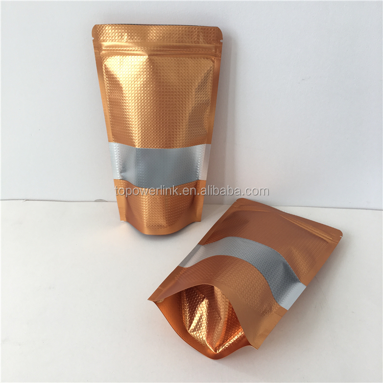 Alibaba Hot Sale Gold Aluminum Foil Package Bag Mylar Zip Lock Stand Up Pouch Food Grade Stand Up Pouch With Zipper And Window