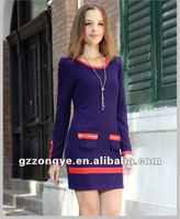 Blue office dress 2012 fashion China clothing manufacturers