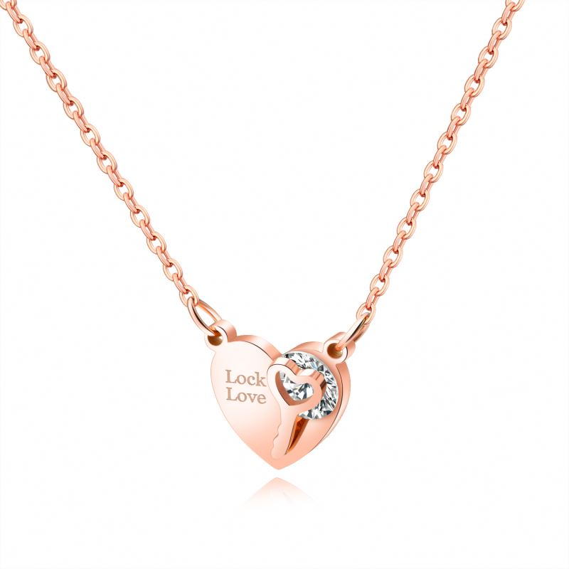 2019 Personalized Popular <strong>Fashion</strong> Rose Color Crystal Heart Pendant Necklace