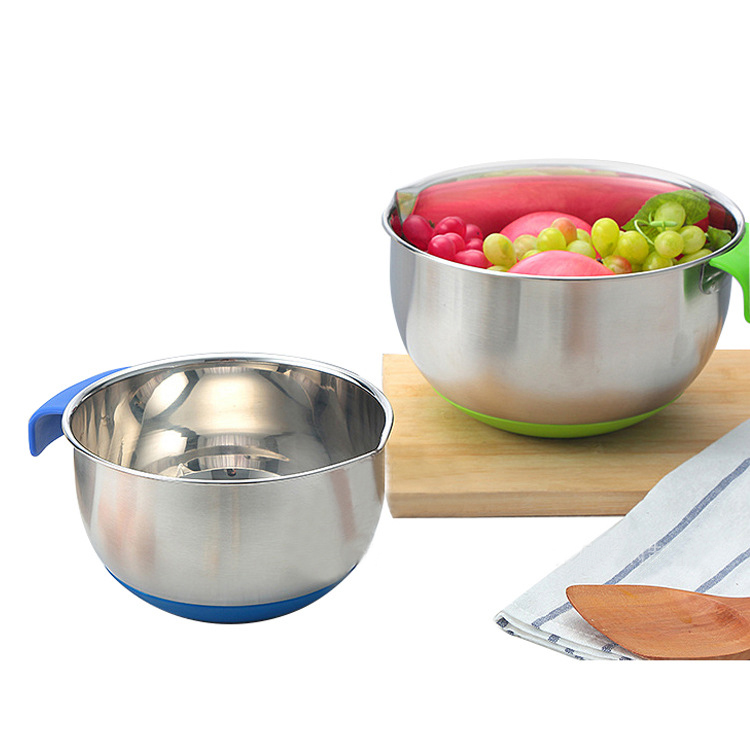 5 Szie Stainless Steel Large Salad Mixing Bowl Set Non-Slip Silicone Bottom Handle Pour Spouts and Measurement Marks