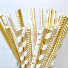 Cheap Disposable wedding/birthday/party decoration gold star Paper Drinking Straws