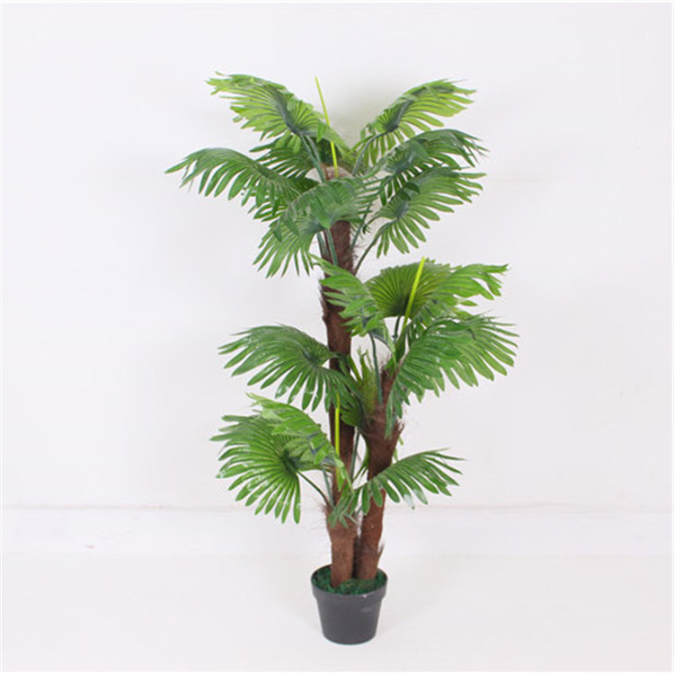 Top selling home decoration artificial plant 3 branches fake fan palm tree