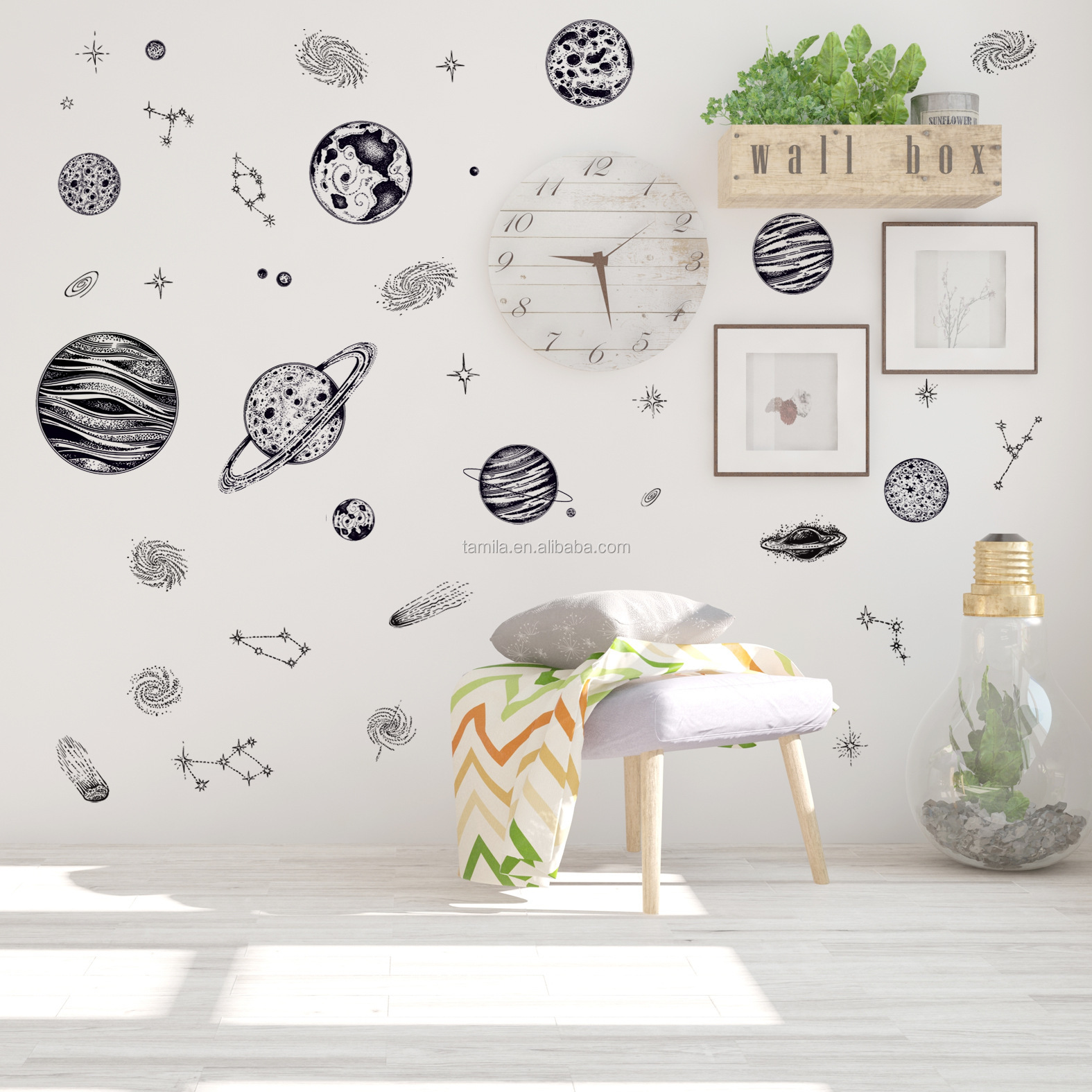 Educational Solar System Wall Decals Fun Planets in Space Wall Stickers Space Exploration solar system planets wall sticker