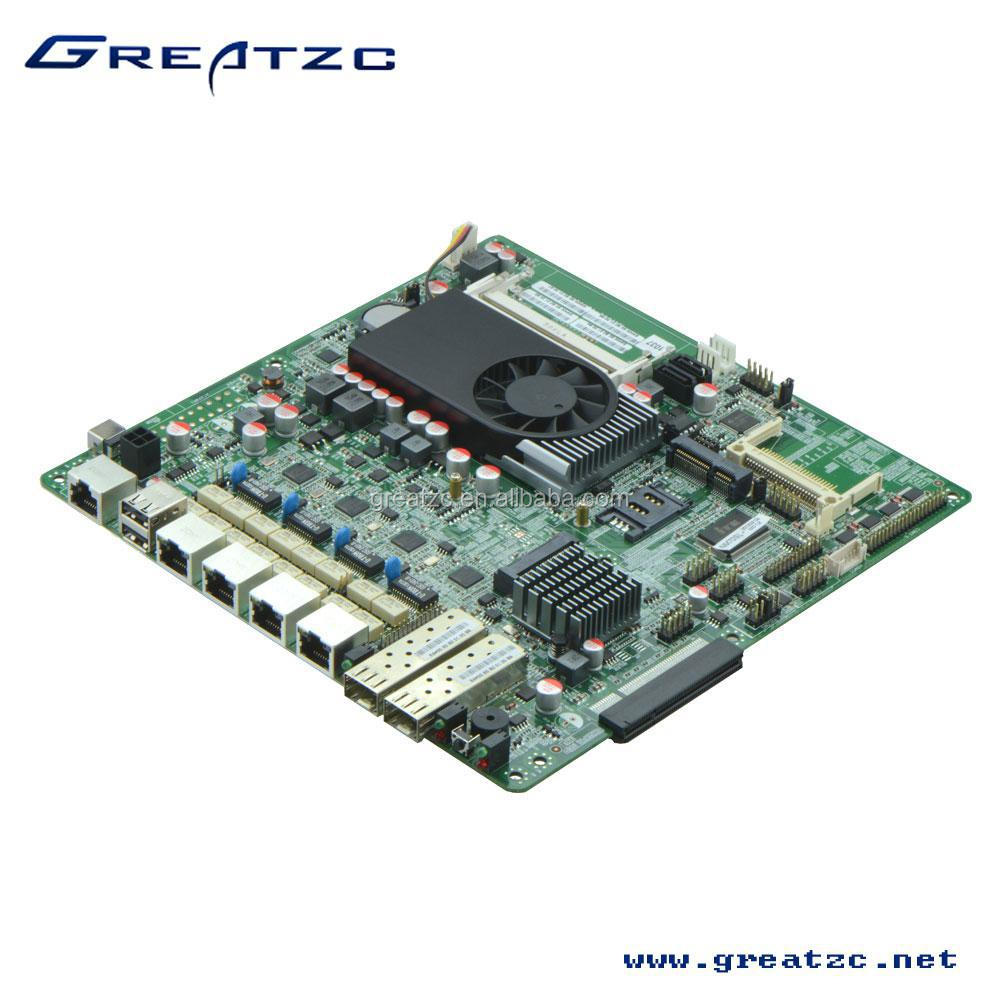ZC-M10374L Fan Firewall Motherboard Onboard CPU 1037U For 4 Lan,6 COM Motherboard With 2*Intel NH82580EB SFP,1*CF