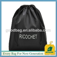 black color polyester/nylon drawstring storage laundry bag with custom printing