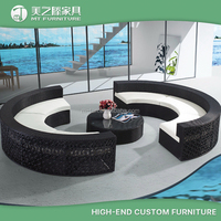 2016 new design modern plastic rattan round sectional sofa outdoor furniture patio sofa set