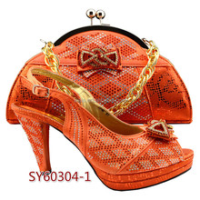 SY60304-1 High quality fashion italian orange shoes and bags to match for women