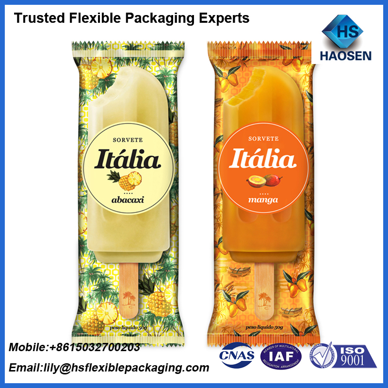 Custom Printing Food Grade Back Seal Ice Popsicle Cream Packaging Bags