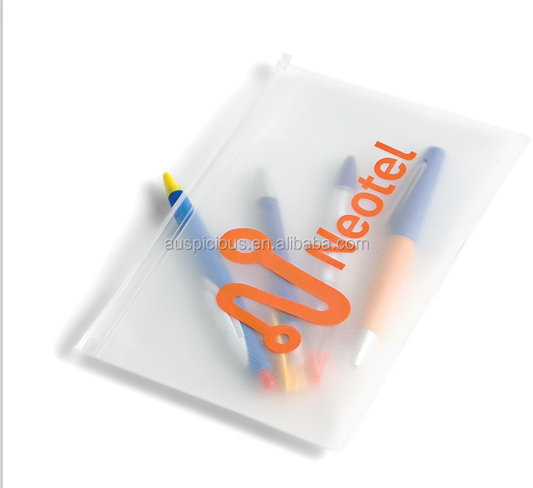 Hot sale frosted pen plastic zipper bag pvc/eva ziplock bag