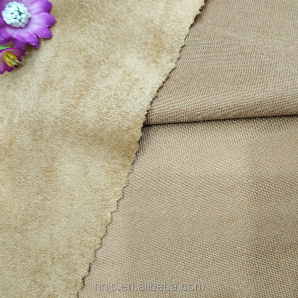 Solid dyed warp knitted polyester stretch suede fabric