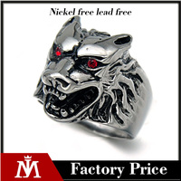 stainless steel rings punk style gothic wolf rings red stone eyes animal rings jewelry