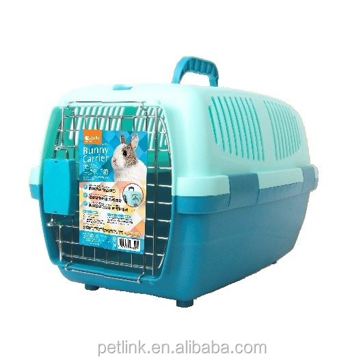 Hot Selling Blue Plastic Portable Pet Carrier for Rabbit, Chinchilla
