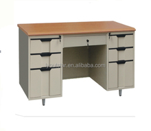 Steel frame comfortable office computer desk with locking drawers