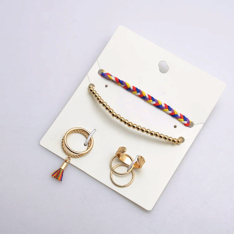 Wholesale hand made woven bracelet with silk tassel pendant rings set for promotion jewelry set product factory china