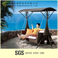 Foshan China Furniture Promotional High Quality Leisure 3 Seat Patio Swing Chair , Sturdy And Durable Outdoor Rattan Hammock