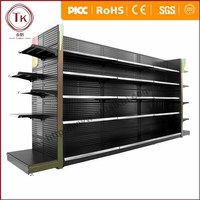 Newly black top quality supermarket gondola display shelf with punch panel