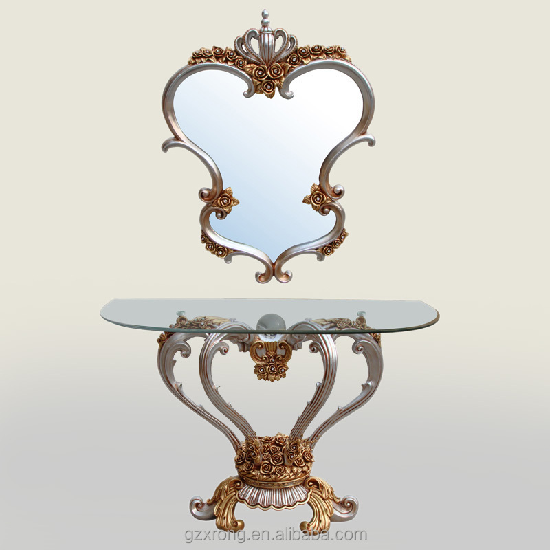 Luxry glass polyresin dressing table with mirror