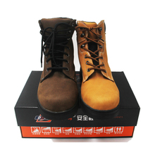 dark brown high neck first layer Crazy horse leather safety shoes