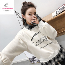 2018 Womens Fake Two Pieces Printing Pullover Hoodies