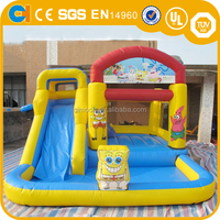 Cheap inflatable bouncer with slide, inflatalbe sponge theme combo,mini inflatable water slides
