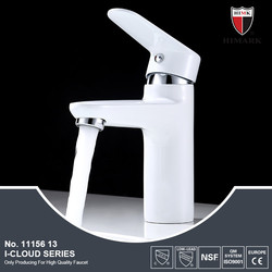 White color single handle basin faucet for the bathroom