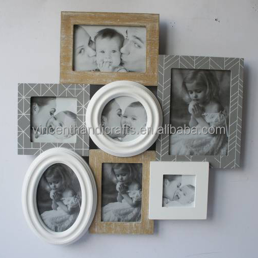 Display collegue round and oval wooden photo frame for gift