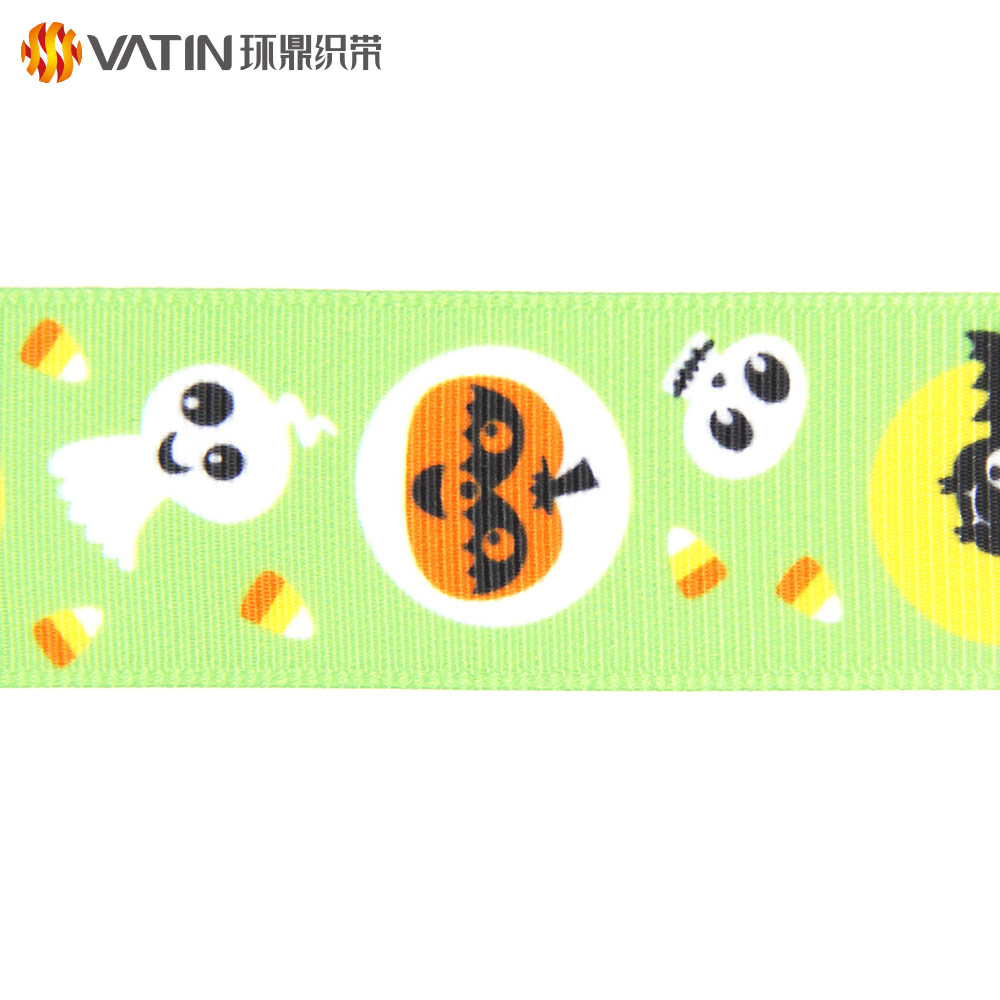 New In Stock Kids Cheap 1 Inch Halloween Printed Grosgrain Ribbon For Decorations
