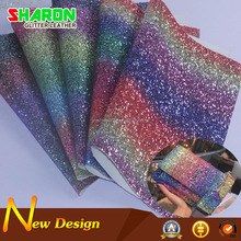 New design chunky silver stripe rainbow colored glitter fabric for evening bags