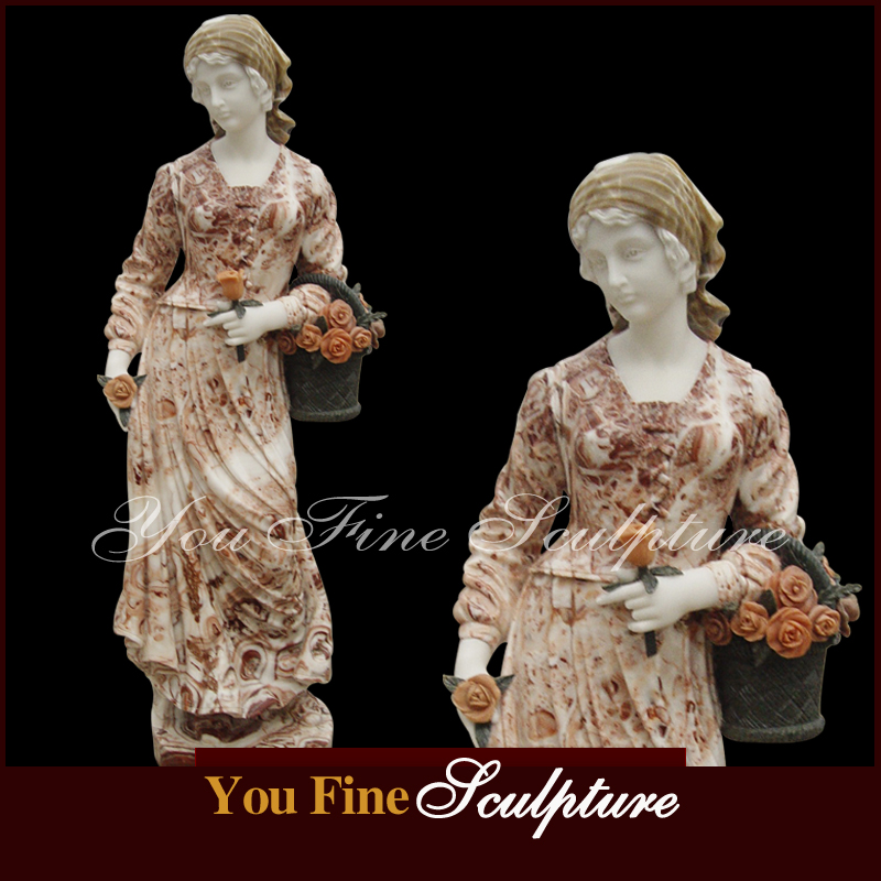 Hand Carved Exquisite Marble Loggia Lady Statue for sale