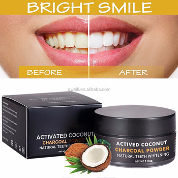 Organic Coconut Activated Charcoal Teeth Whitening Powder For Stronger Healthy Whiter Teeth