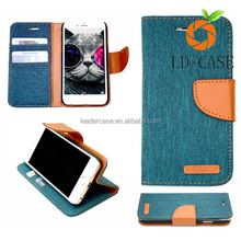 Fashion cowboy Leather Denim Wallet Stand Case With Photo Card Holder shell Phone back Cover For iphone 7