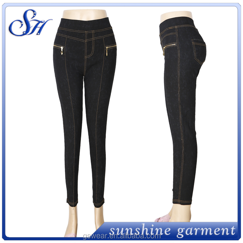 New arrival jean pants for women stretch plain dyed fashion pants with zipper