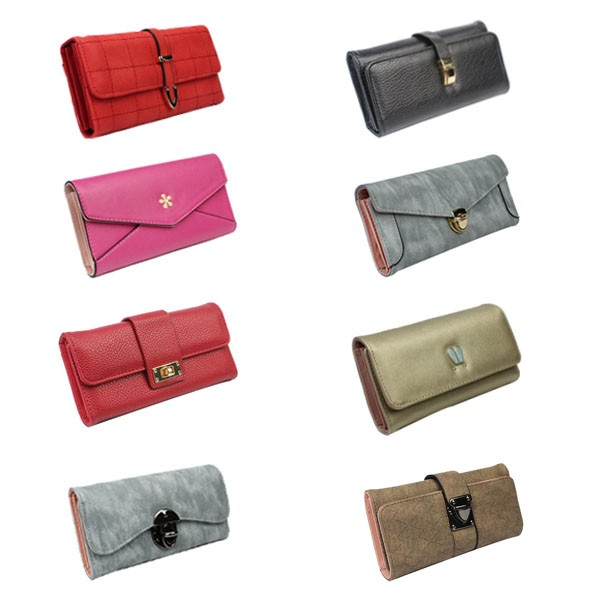 100% PU ladies credit card holder latest design zip around wallets leather woman purse
