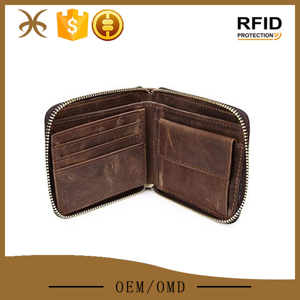 Zip-around leather card holder mini wallet with coin pocket
