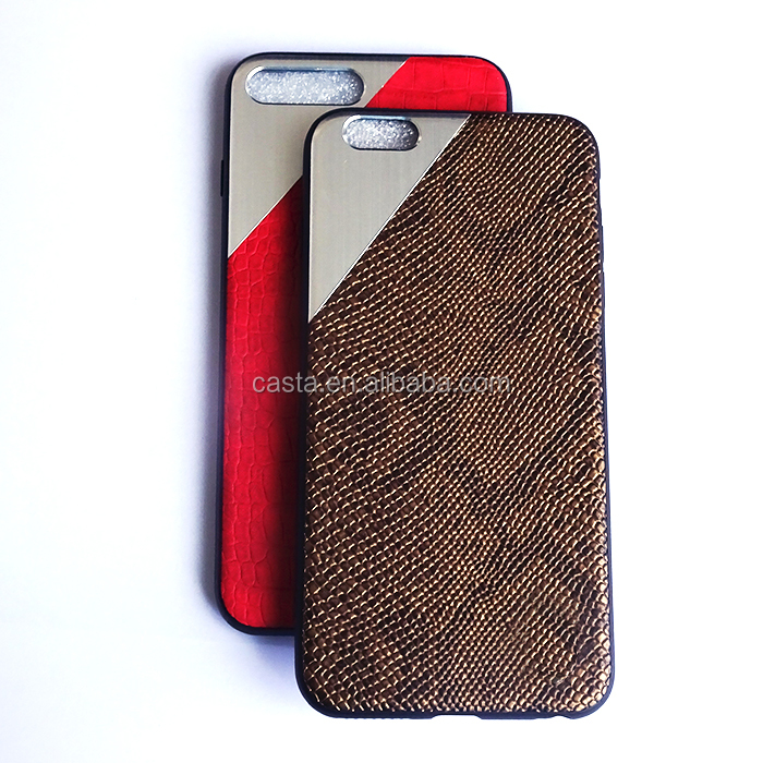 leather Mosaic metal Mobile cell phone cover armor TPU +PC case for iPhone 5 5S