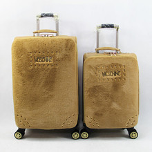 PU trolley case with the material of similiar cony hair for fashion treding