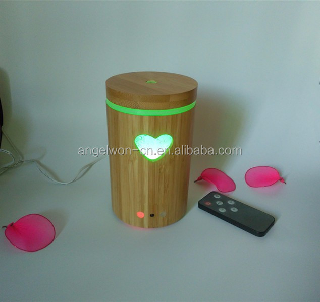 2017 IR remote control aromatherapy diffuser cutout heart bamboo diffuser essential oil set mist maker with led night light